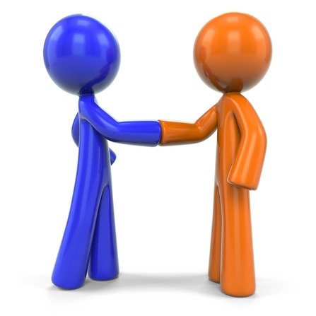 Orange and Blue Man Closing Deal